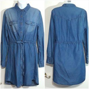 VTG Love Tree Denim Lyocell Chambray shirt dress L
